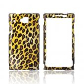 Huawei Ideos X6 Hard Case - Black & Brown Leopard on Gold