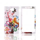 Huawei Ideos X6 Hard Case - Colorful Flowers & Swirls on White