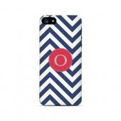 Cherry Button O on Navy Blue Zig Zags - Geeks Designer Line Monogram Series Hard Case for Apple iPhone 5/5S