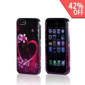Apple iPhone 5/5S Hard Case - Hot Pink/ Purple Flowers & Heart