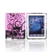 Apple iPad 2nd Gen Hard Case - Purple w/ Black Butterflies &amp; Swirls