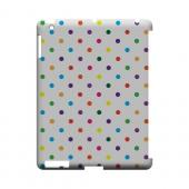 Small &amp; Rainbow on White Geeks Designer Line Polka Dot Series Slim Hard Case for Apple iPad (3rd &amp; 4th Gen.)