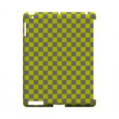 Yellow/ Gray - Geeks Designer Line Checker Series Hard Case for Apple iPad (3rd &amp; 4th Gen.)