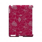 White on Pink Orchid Lines - Geeks Designer Line Floral Series Hard Case for Apple iPad (3rd &amp; 4th Gen.)