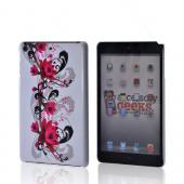 Magenta Flowers &amp; Black Vines on White Hard Case for Apple iPad Mini