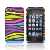 Apple Verizon/ AT&amp;T iPhone 4, iPhone 4S Hard Case - Rainbow/White Zebra