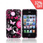 Apple Verizon/ AT&amp;T iPhone 4, iPhone 4S Hard Case - Pink Floral on Black