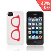 AT&amp;T/ Verizon Apple iPhone 4, iPhone 4S Hard Case - Red Geek Glasses on White