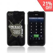 AT&amp;T/ Verizon Apple iPhone 4 Passion Series Hard Case - Gray Courage Joshua 1:9 on Black