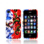 Apple Verizon/ AT&T iPhone 4, iPhone 4S Hard Case - Red/White/Blue Love Lust - XXIP4