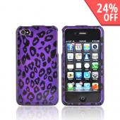 AT&amp;T/ Verizon Apple iPhone 4, iPhone 4S Hard Case - Purple/ Black Leopard