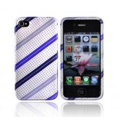 Luxmo Apple Verizon/ AT&amp;T iPhone 4, iPhone 4S Hard Case - Purple/Lavender Stripes on Silver