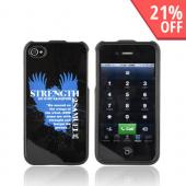 AT&amp;T/ Verizon Apple iPhone 4 Passion Series Hard Case - Blue Strength 2 Samuel 22:11-33 on Black