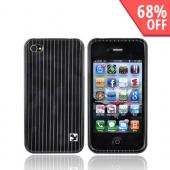 Apple Verizon/ AT&amp;T iPhone 4, iPhone 4S Hard Case - Silver Stripes on Black