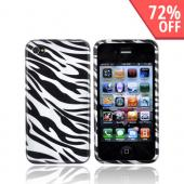Apple Verizon/ AT&T iPhone 4, iPhone 4S Hard Case - Silver Zebra