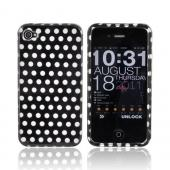 Apple AT&amp;T/ Verizon iPhone 4 Hard Case - Silver Polka Dots on Black