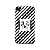 Vintage Vine V On Black Slanted Stripes - Geeks Designer Line Monogram Series Hard Case for Apple iPhone 4/4S