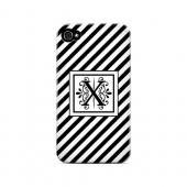 Vintage Vine X On Black Slanted Stripes - Geeks Designer Line Monogram Series Hard Case for Apple iPhone 4/4S