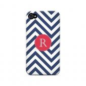Cherry Button R on Navy Blue Zig Zags - Geeks Designer Line Monogram Series Hard Case for Apple iPhone 4/4S