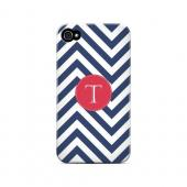 Cherry Button T on Navy Blue Zig Zags - Geeks Designer Line Monogram Series Hard Case for Apple iPhone 4/4S