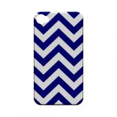 Navy Blue on White Geeks Designer Line Zig Zag Series Slim Hard Case for Apple iPhone 4/4S