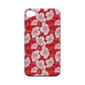 White Hibiscus on Red - Geeks Designer Line Floral Series Hard Case for Apple iPhone 4/4S