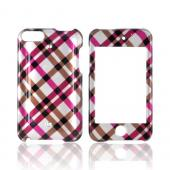 Apple iPod Touch 2 & 3 Hard Case - Checkered Plaid of Pink, Brown, Grey