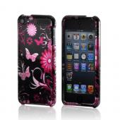 Pink Flowers & Butterflies on Black Hard Case for Apple iPod Touch 5