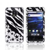 T-Mobile G2X Hard Case - Black Zebra & Stars on Silver