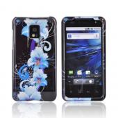 T-Mobile G2X Hard Case - Blue Flowers on Black