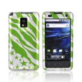 T-Mobile G2X Hard Case - Green Zebra &amp; Stars on Silver