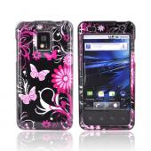 T-Mobile G2X Hard Case - Pink Butterflies &amp; Flowers on Silver