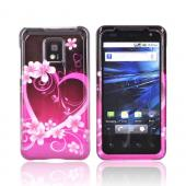 T-Mobile G2X Hard Case - Pink Flowers &amp; Hearts on Black