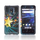 T-Mobile G2X Hard Case - Star Blast &amp; Butterflies on Teal/ Black