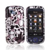LG Neon II W370 Hard Case - Silver Skulls on Black