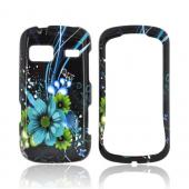 LG Rumor Reflex Hard Case - Turquoise/ Green Flowers on Black