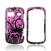 LG Rumor Reflex Hard Case - Black Swirls Design on Purple