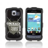 LG Optimus S LS670 Passion Series Hard Case - Gray Courage Joshua 1:9 on Black