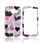 LG Optimus S LS670 Hard Case - Pink Hearts on White