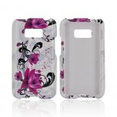 LG Optimus Elite Hard Case - Magenta Flowers & Black Vines on White