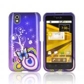 LG Marquee LG855 Hard Case - Blue Butterfly and Swirls on Purple