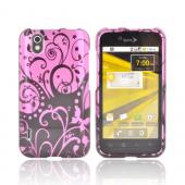LG Marquee LS855 Hard Case - Black Swirls Design on Pink