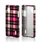 Pink/ Hot Pink/ Brown/ Gray Plaid Pattern Hard Case for LG Optimus G (Sprint)