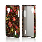 Pink/ Orange Retro Flowers on Black Hard Case for LG Optimus G (Sprint)