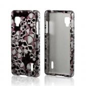 Silver Skulls on Black Hard Case for LG Optimus G (Sprint)