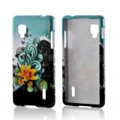 Yellow Lily w/ Swirls on Turquoise/ Black Hard Case for LG Optimus G (Sprint)