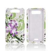 LG Viper 4G LTE/ LG Connect 4G Hard Case - Purple Lily on Green/ White