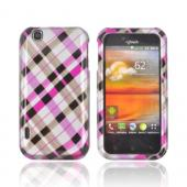 T-Mobile MyTouch Hard Case - Plaid Pattern of Hot Pink &amp; Brown on Silver