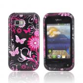 T-Mobile My Touch Q Hard Case - Pink Flowers &amp; Butterflies on Black
