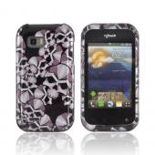 T-Mobile MyTouch Q Hard Case - Silver Skulls on Black